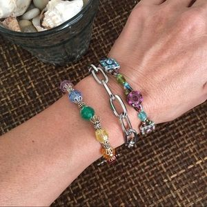 VINTAGE Bundle of Three Rainbow & Silver Bracelets